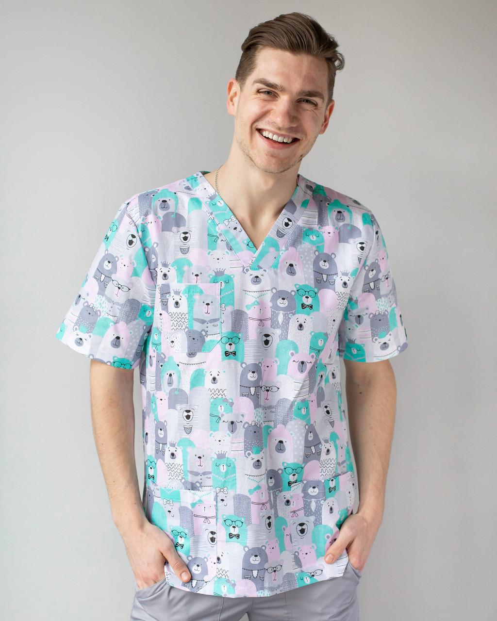 Медицинский мужской костюм Гранит принт мишки серые 46, 48, 50, 54
