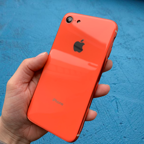 Чехол накладка на iPhone 7 / 8 Glass Silicone Case Logo  Orange (Оранжевый)