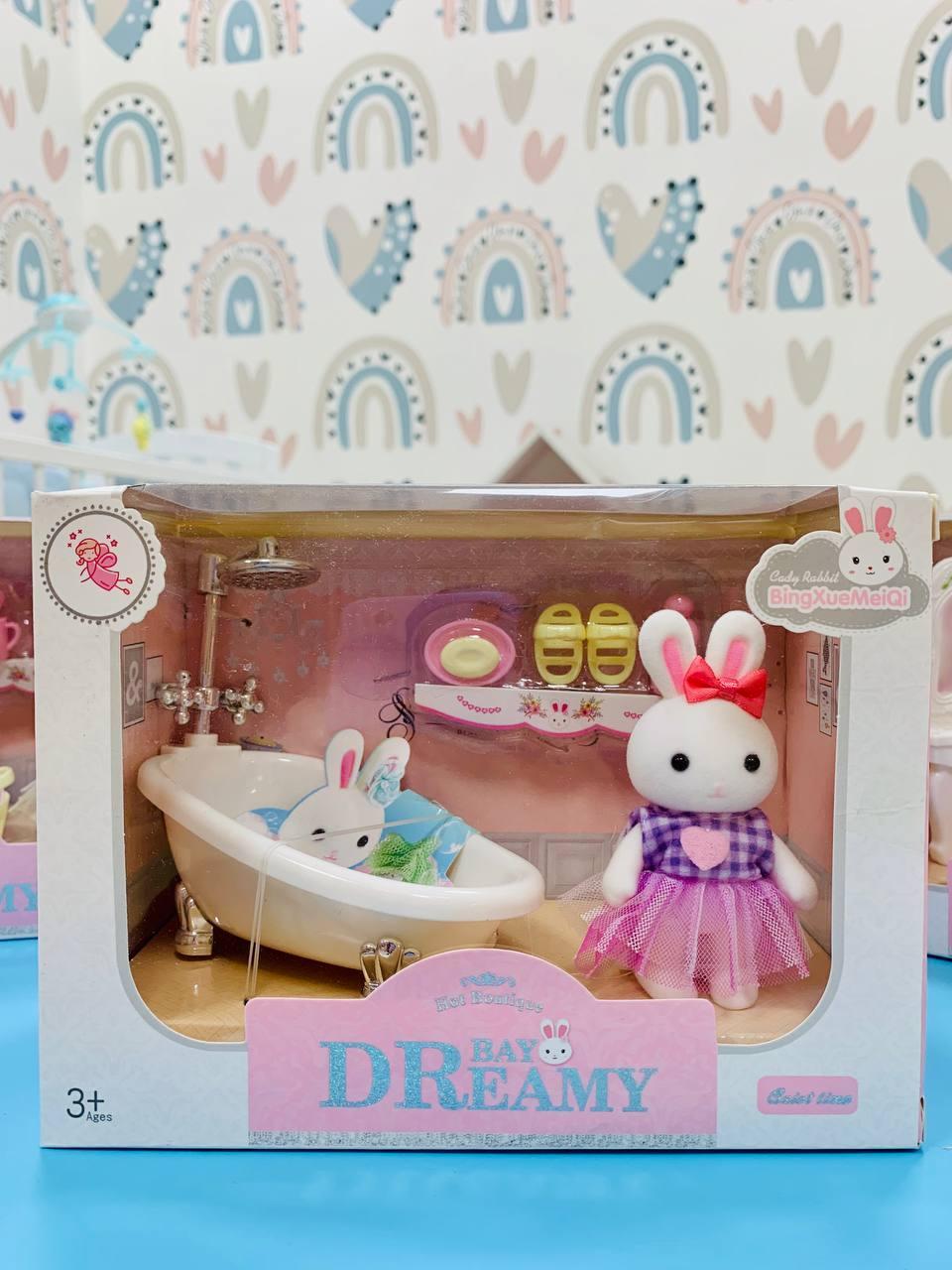 Кукольная мебель с зайчиками 6621, Ванная