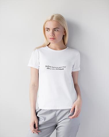 Женская футболка Модерн, белый принт Manicure, фото 2