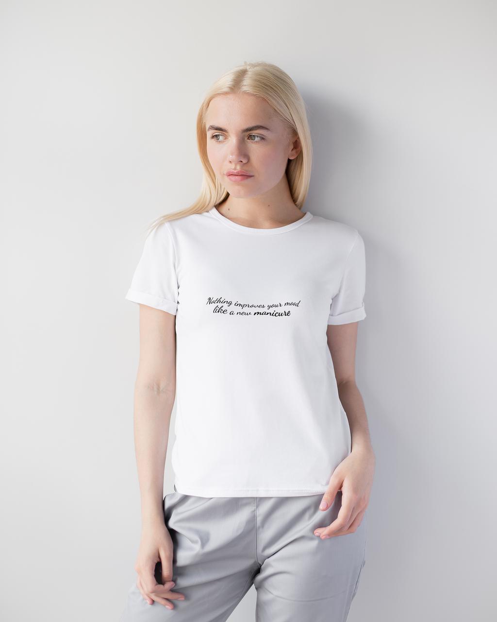 Женская футболка Модерн, белый принт Manicure
