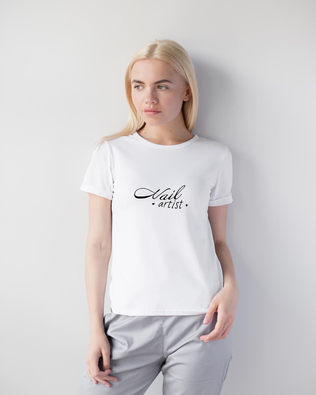 Женская футболка Модерн, белый принт Nail artist