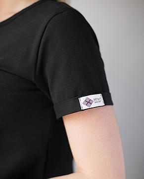 Женская футболка Модерн, черный принт Love Piece…, фото 2