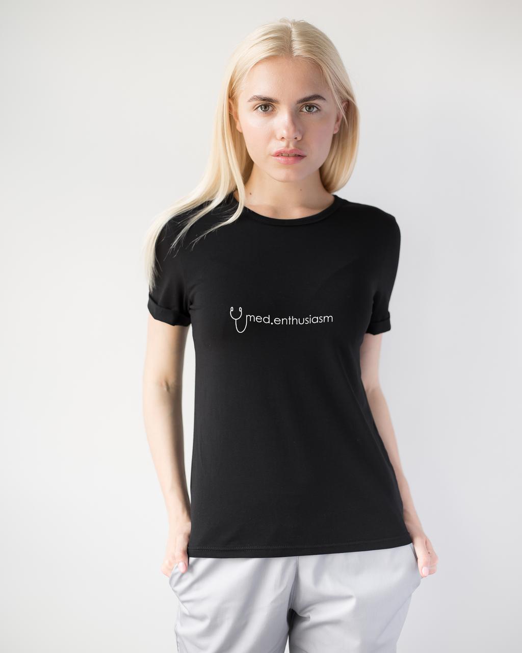 Женская футболка Модерн, черный принт Med entusiasm