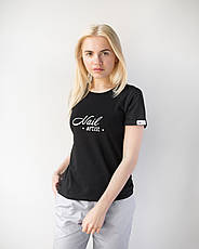Женская футболка Модерн, черный принт Nail artist, фото 2