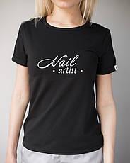 Женская футболка Модерн, черный принт Nail artist, фото 3
