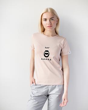 Женская футболка Модерн, беж принт Say AAA, фото 2