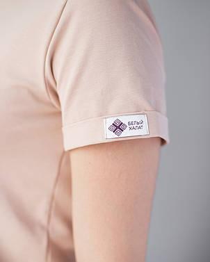 Женская футболка Модерн, беж принт Beauty (кисть), фото 2