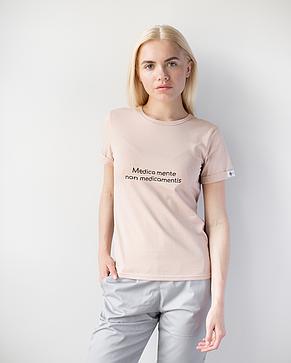 Женская футболка Модерн, беж принт Medica mente, фото 2