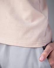 Женская футболка Модерн, беж принт Med entusiasm, фото 3