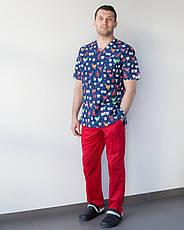 Медицинский мужской костюм Гранит принт Teeth red, фото 3