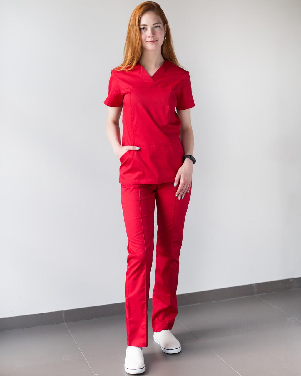 Медицинский женский костюм Топаз красный