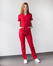 Медицинский женский костюм Топаз красный, фото 3