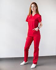 Медицинский женский костюм Топаз красный, фото 2