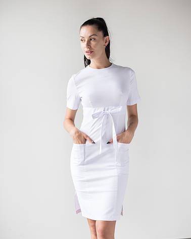 Медицинское платье Скарлетт белый, фото 2