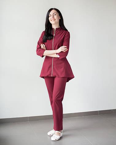 Медицинский женский костюм Мишель (марсала), фото 2