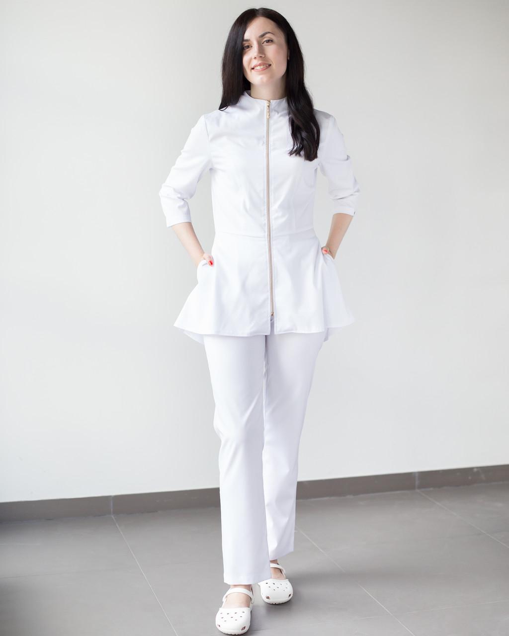 Медицинский женский костюм Мишель (белый)