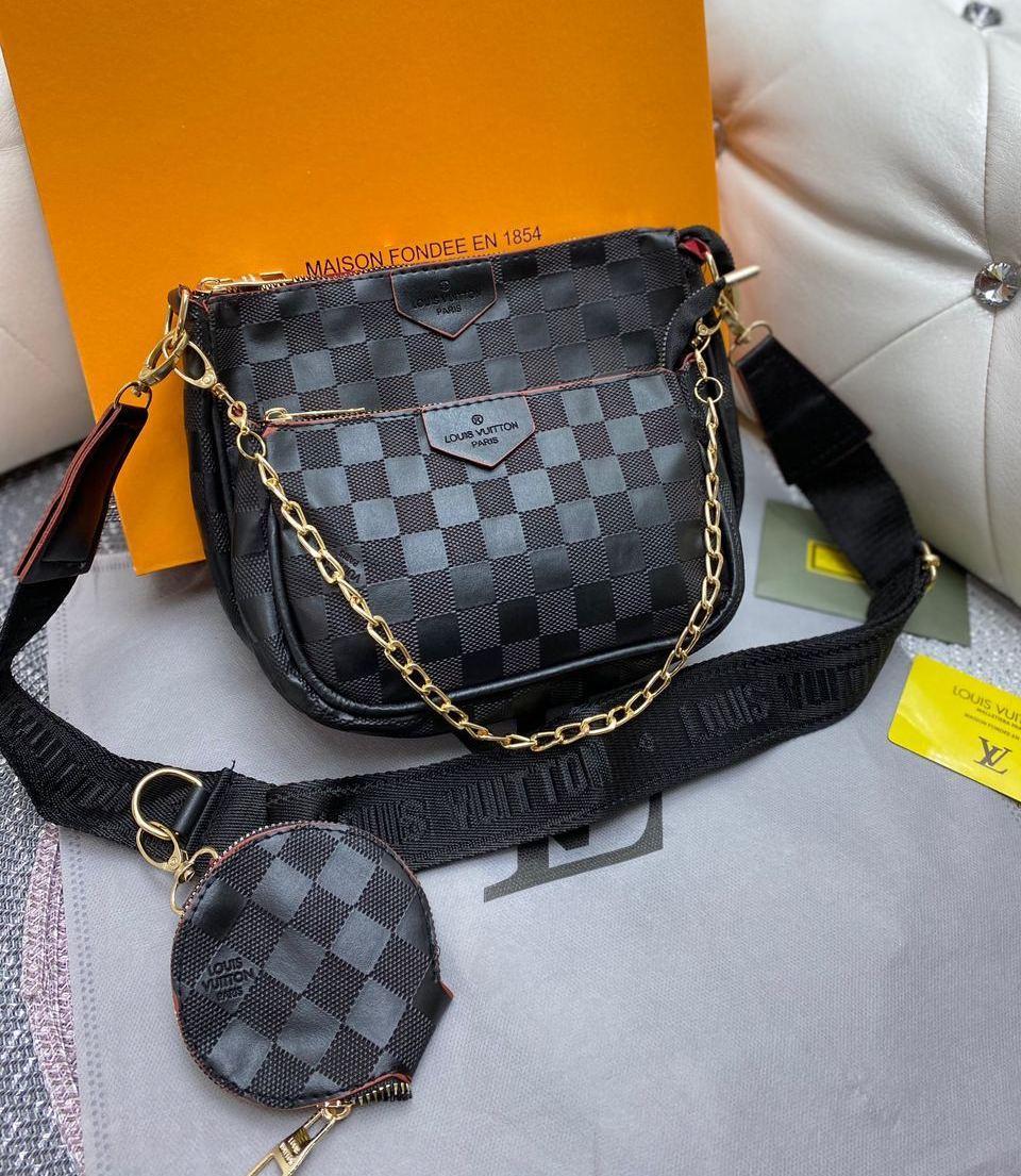 Сумка кроссбоди 3 в 1 клатч сумочка с цепочкой через плечо модная брендовая кожзам