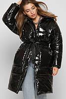 Длинная зимняя куртка лаковая женская черная с поясом