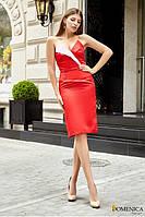 Платье из атласа с открытыми плечами - Р 2539