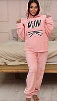 Теплая махровая пижама с капюшоном Мяу