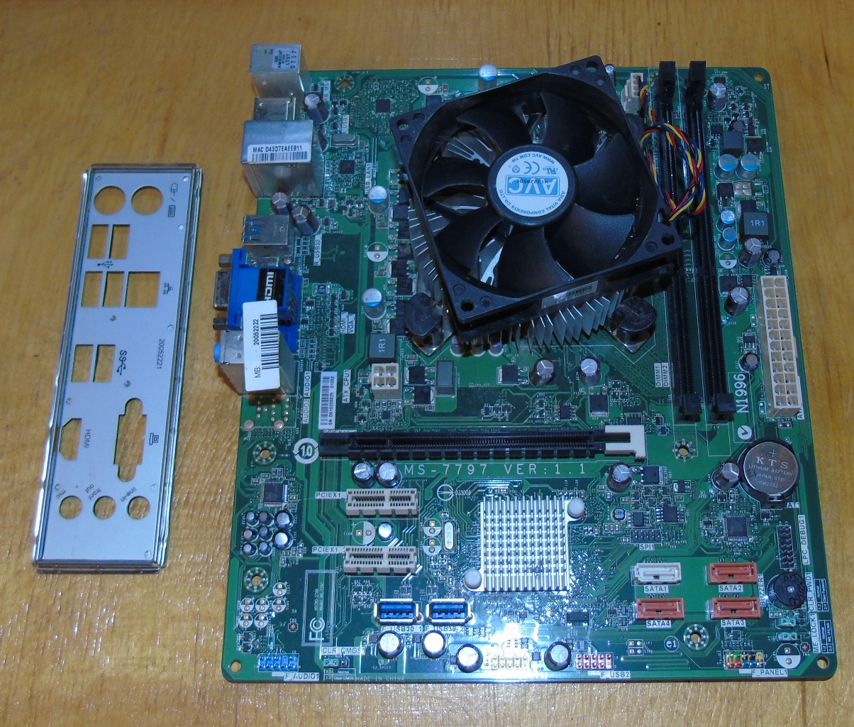 1155 Материнская плата MSI MS-7797 Ver 1.1 + Процессор Intel Core i3 3220 @