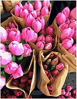 Картины по номерам на холсте Наборы для рисования по номерам акриловая живопись Тюльпаны