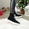 Ботинки замшевые спортивного стиля на утолщенной подошве. Цвет черный, фото 2