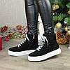Ботинки замшевые спортивного стиля на утолщенной подошве. Цвет черный, фото 4