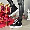Ботинки замшевые спортивного стиля на утолщенной подошве. Цвет черный, фото 6
