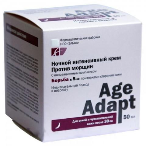 Інтенсивний нічний крем проти зморшок. Для сухої і чутливої шкіри. 50 мл, Elfa Pharm Age Adapt