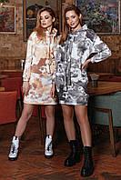 ✔️ Модное теплое платье с капюшоном трехнитка 42-48 размеры разные расцветки