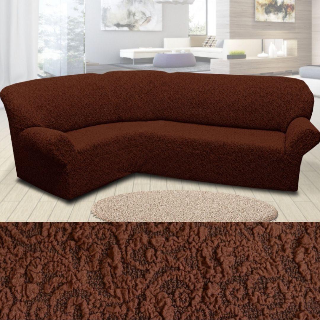 Чехол на угловой диван натяжной еврочехол накидка жаккардовый Коричневый без оборки турецкие
