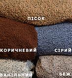 Чехол на угловой диван натяжной еврочехол накидка жаккардовый Коричневый без оборки турецкие, фото 7