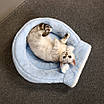 Домик лежанка для кошки собаки круглый лежак трансформер серый 40 см, фото 10
