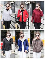 Весенне-осенняя женская повседневная куртка меховая подкладка с капюшоном