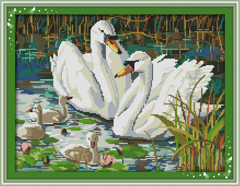 Набор для вышивания крестом NKF Семья лебедей 14ст D248