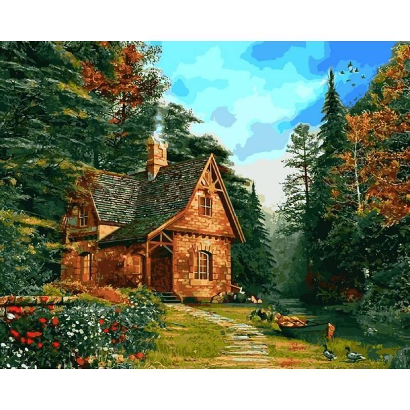 Картина рисование по номерам Mariposa Лесной коттедж 40х50см Q2205 набор для росписи, краски, кисти, холст