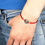 Браслет-оберег Красная нить с амулетом Подкова Богатства Металл с посеребрением (22233), фото 4