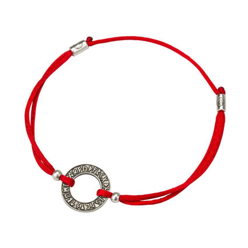 Браслет-оберег Красная нить с амулетом Руническое Кольцо Металл с посеребрением (22238)