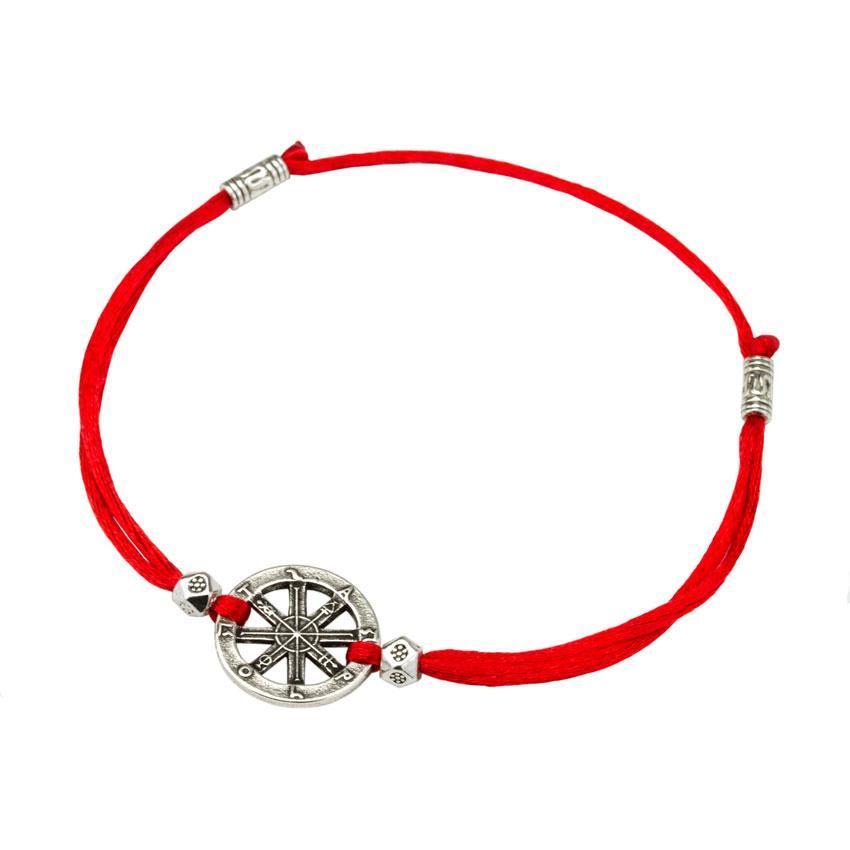 Браслет-оберег Красная нить с амулетом Колесо Фортуны Металл с посеребрением (22242)