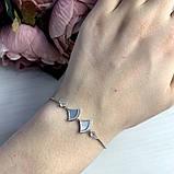 Серебряный браслет SilverBreeze с натуральным перламутром, фианитами (2038405) Регулируемый размер, фото 3