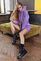✔️ Модное теплое платье с капюшоном трехнитка в спортивном стиле 42-48 размеры разные расцветки