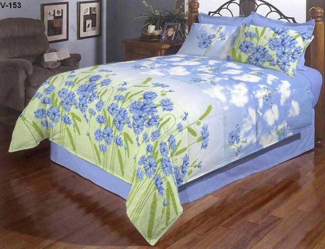 фотография постельное белье с голубыми цветами