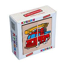 Дерев'яні кубики Транспорт Komarovtoys Т610