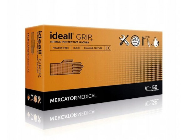 Супер прочные нитриловые перчатки Mercator Medical Ideall GRIP + L 50 шт Черные