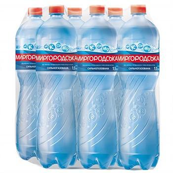 Упаковка минеральной природной лечебно-столовой сильногазированной воды Миргородська 1,5 л х 6 бутылок