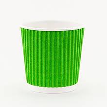 Стакан бумажный рифленый зелёный 110 мл 20 шт