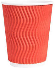 Стакан бумажный рифленый красный 250 мл 20 шт