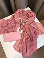 Шарф весенний 176х120 см, Розовый